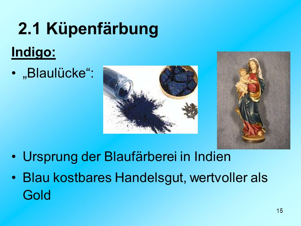 "2.1 Küpenfärbung Indigo: ""Blaulücke :"