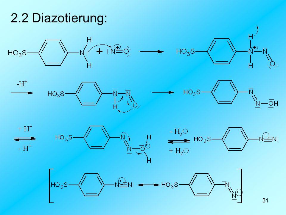 2.2 Diazotierung: 1. Nukleophiler Angriff des Nitylkations