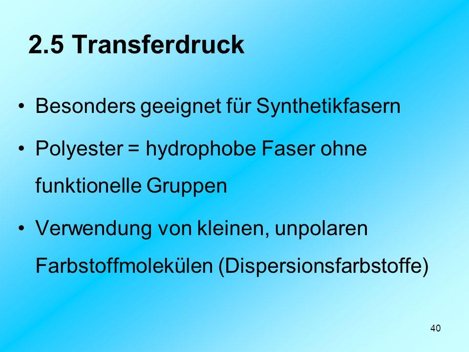 2.5 Transferdruck Besonders geeignet für Synthetikfasern