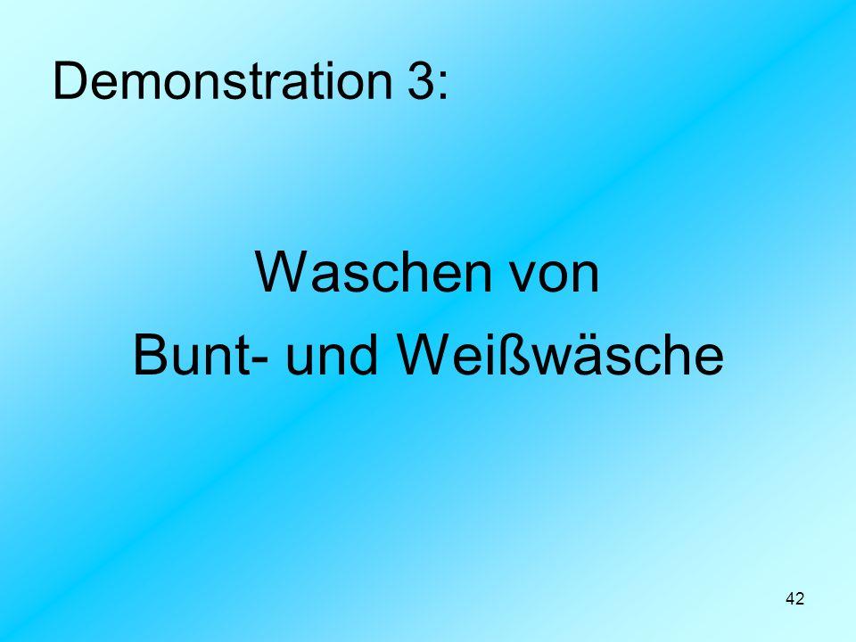 Demonstration 3: Waschen von Bunt- und Weißwäsche