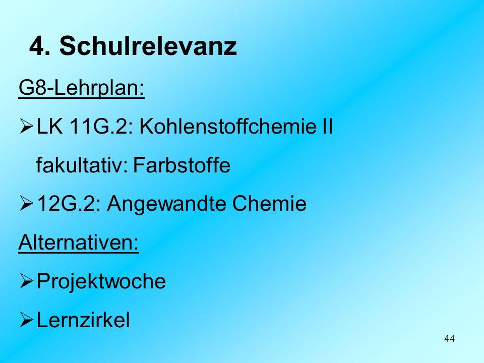 4. Schulrelevanz G8-Lehrplan: LK 11G.2: Kohlenstoffchemie II