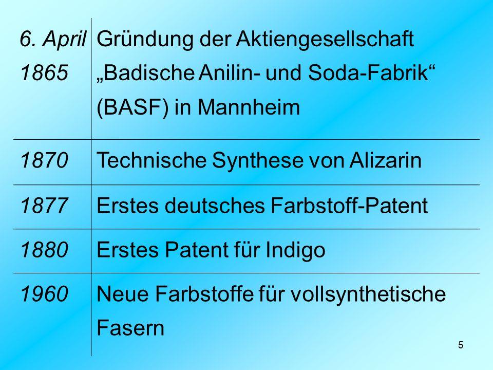 """6. April 1865 Gründung der Aktiengesellschaft """"Badische Anilin- und Soda-Fabrik (BASF) in Mannheim."""