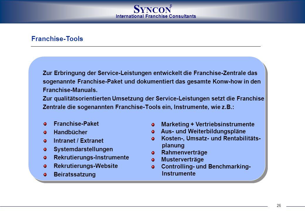 Franchise-Tools Zur Erbringung der Service-Leistungen entwickelt die Franchise-Zentrale das.