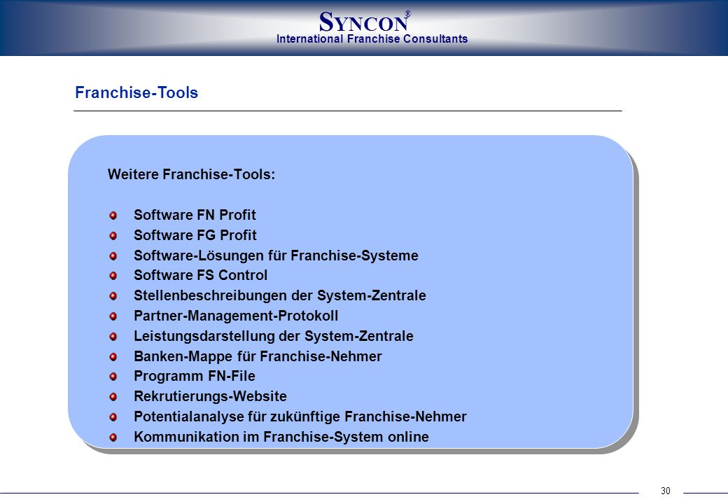 Franchise-Tools Weitere Franchise-Tools: Software FN Profit