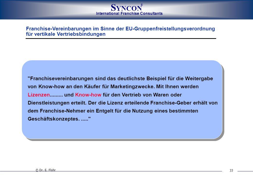 Franchise-Vereinbarungen im Sinne der EU-Gruppenfreistellungsverordnung für vertikale Vertriebsbindungen