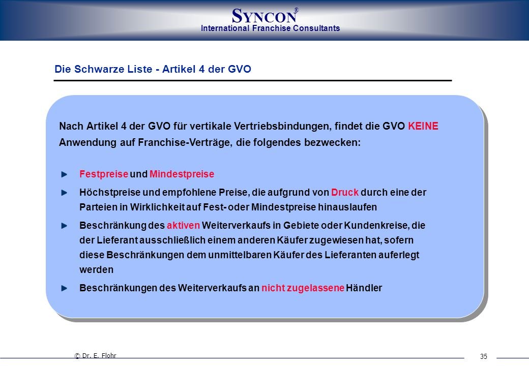 Die Schwarze Liste - Artikel 4 der GVO