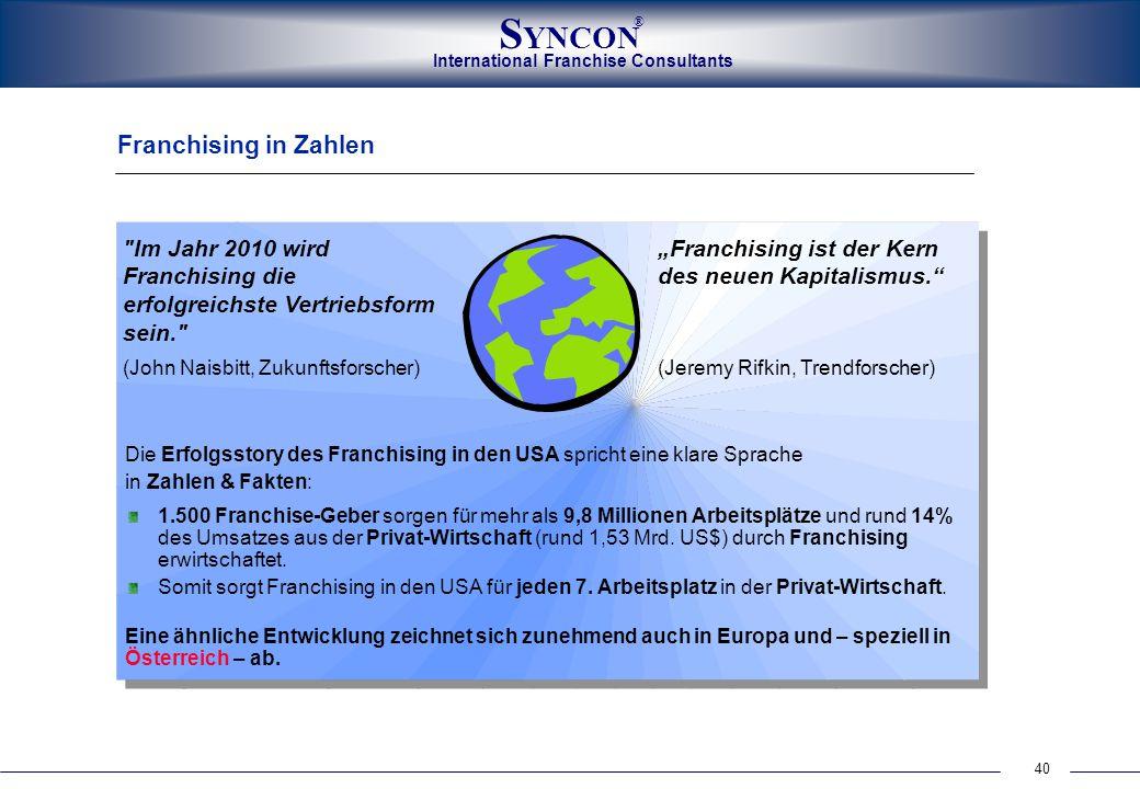 Franchising in Zahlen Im Jahr 2010 wird Franchising die erfolgreichste Vertriebsform sein. (John Naisbitt, Zukunftsforscher)