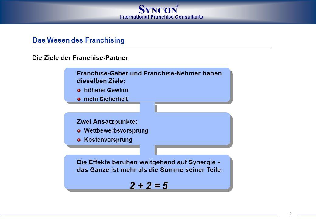 2 + 2 = 5 Das Wesen des Franchising Die Ziele der Franchise-Partner