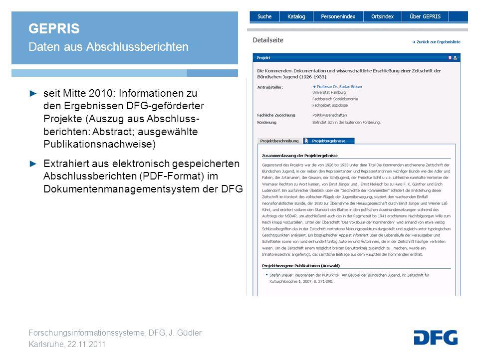 GEPRIS Daten aus Abschlussberichten
