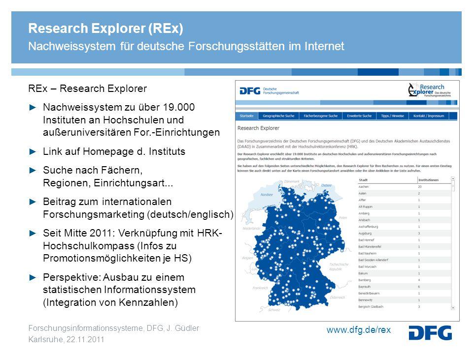 Research Explorer (REx) Nachweissystem für deutsche Forschungsstätten im Internet
