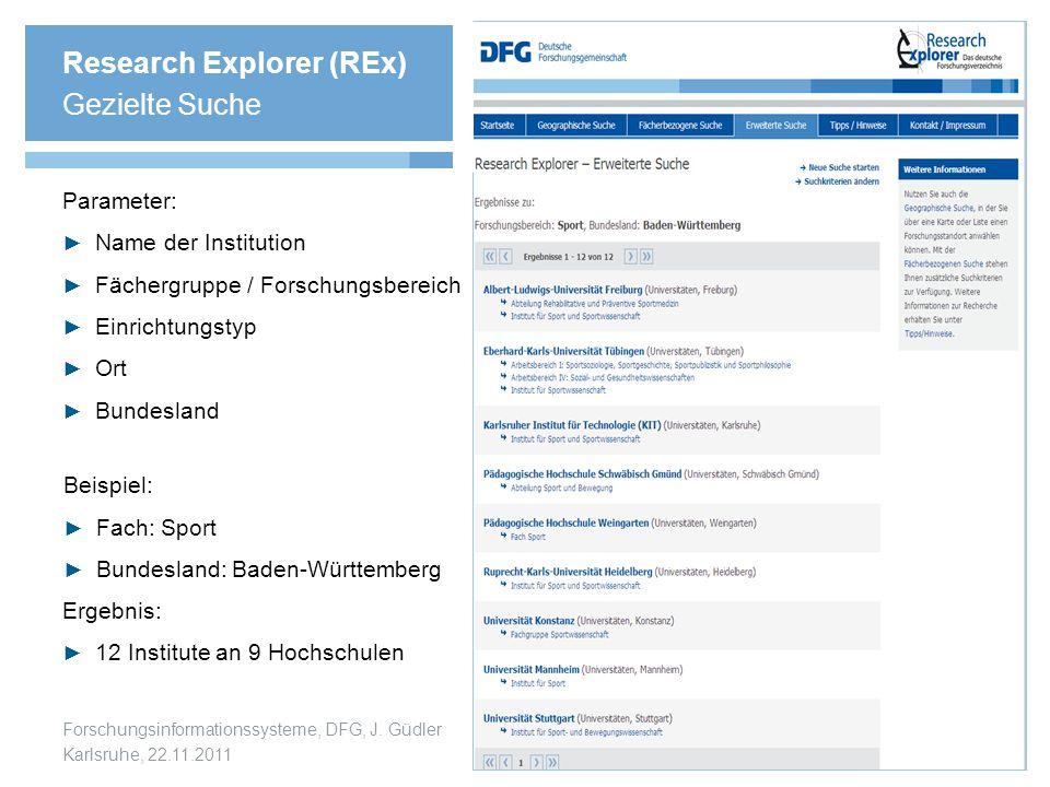 Research Explorer (REx) Gezielte Suche