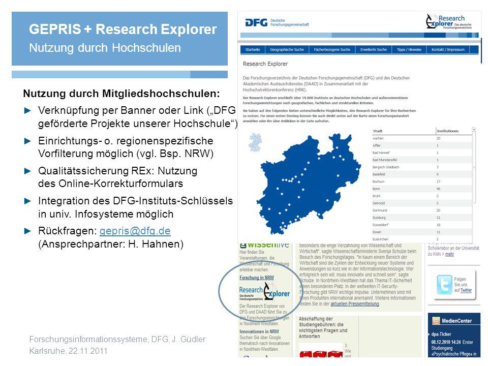 GEPRIS + Research Explorer Nutzung durch Hochschulen
