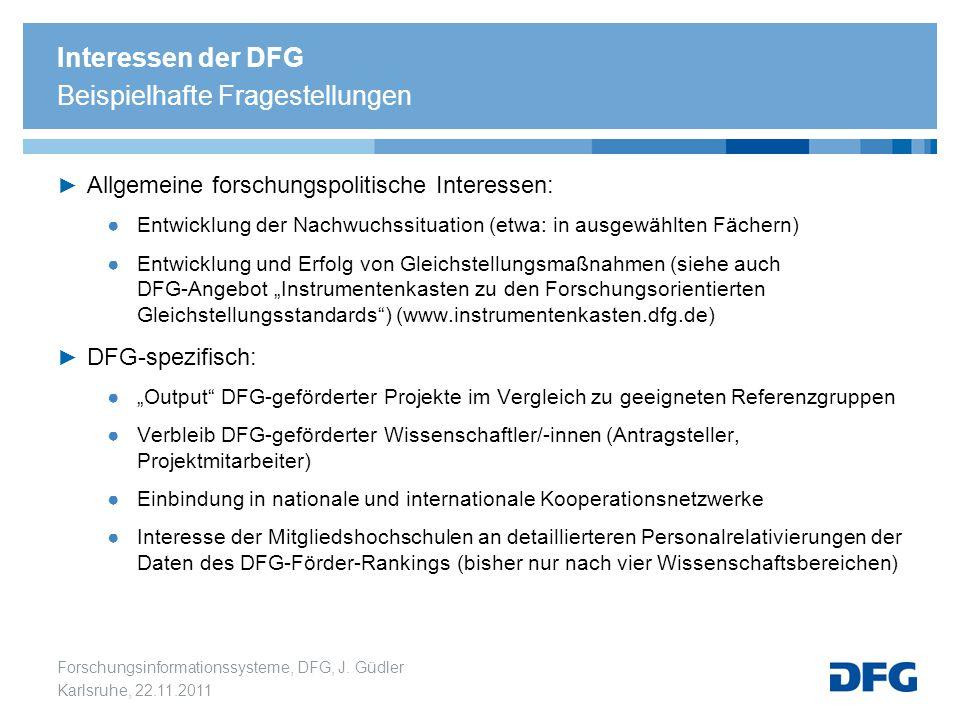 Interessen der DFG Beispielhafte Fragestellungen