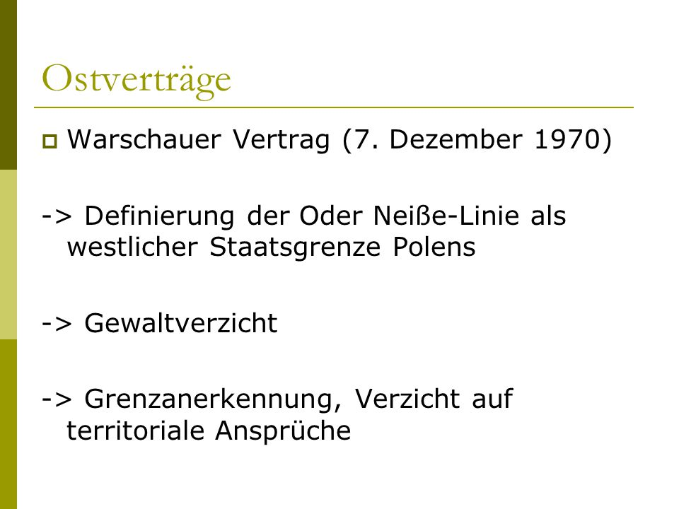 Ostverträge Warschauer Vertrag (7. Dezember 1970)