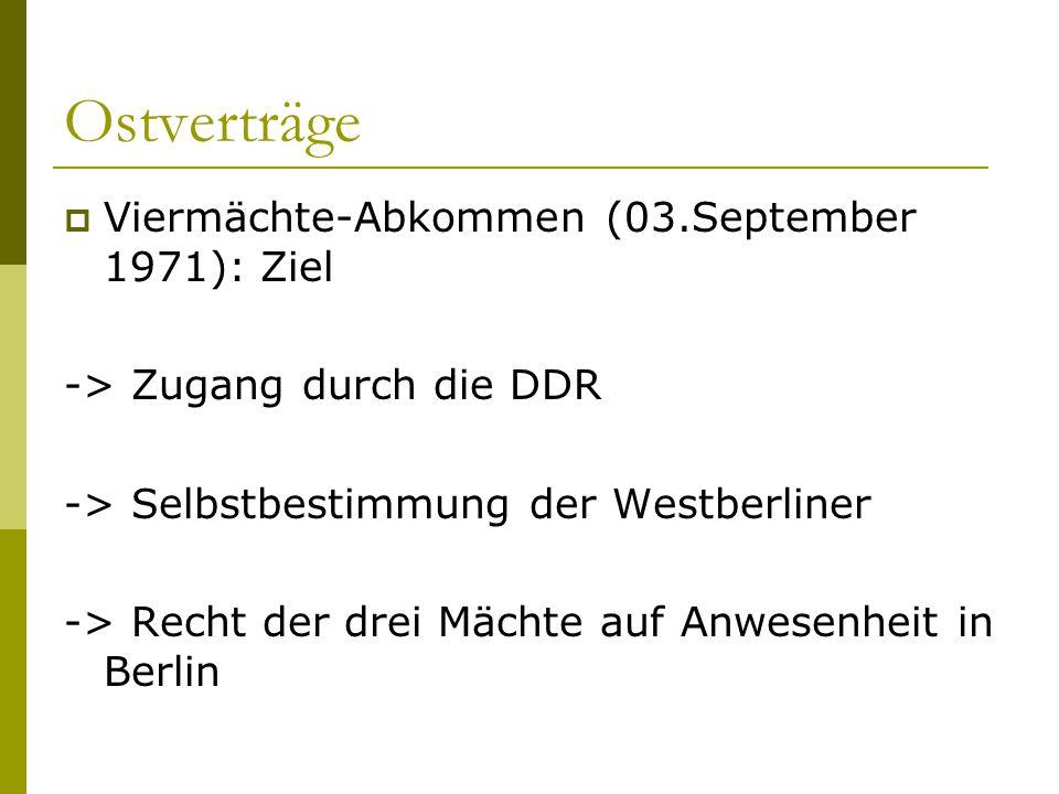 Ostverträge Viermächte-Abkommen (03.September 1971): Ziel