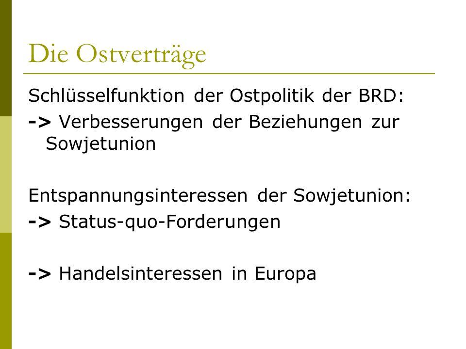 Die Ostverträge Schlüsselfunktion der Ostpolitik der BRD: