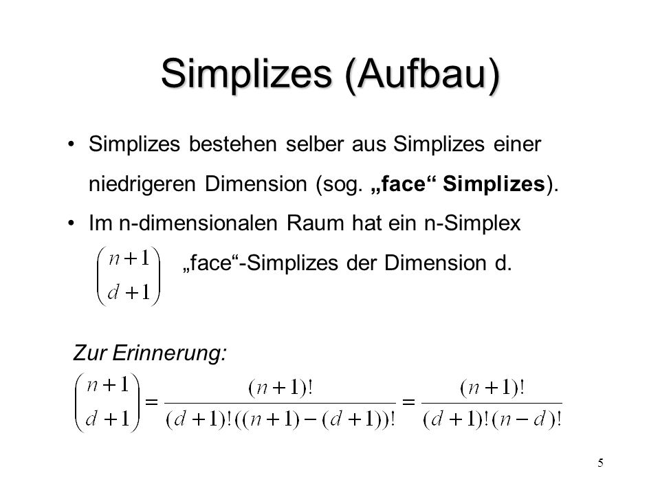 Simplizes (Aufbau) Simplizes bestehen selber aus Simplizes einer