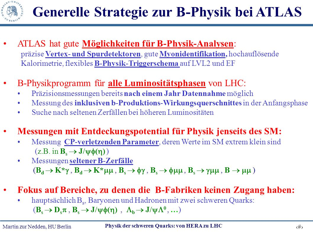 Generelle Strategie zur B-Physik bei ATLAS