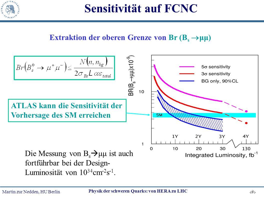 Sensitivität auf FCNC Extraktion der oberen Grenze von Br (Bs μμ)