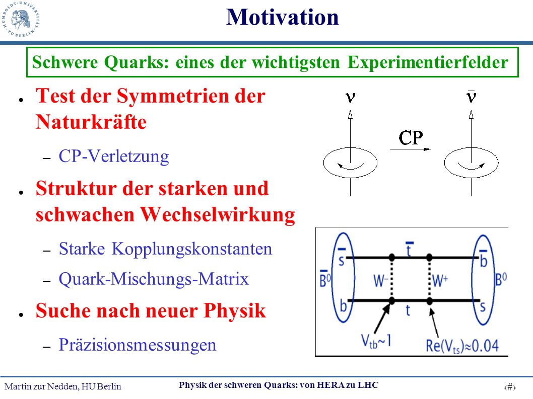 Motivation Test der Symmetrien der Naturkräfte