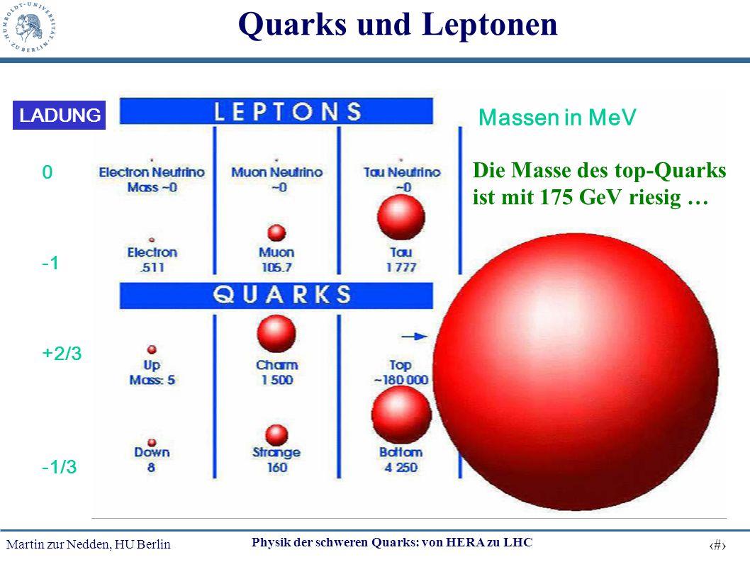 Quarks und Leptonen Massen in MeV Die Masse des top-Quarks