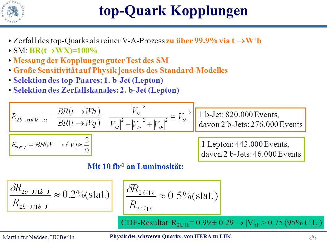 top-Quark Kopplungen Zerfall des top-Quarks als reiner V-A-Prozess zu über 99.9% via t W+b. SM: BR(tWX)=100%