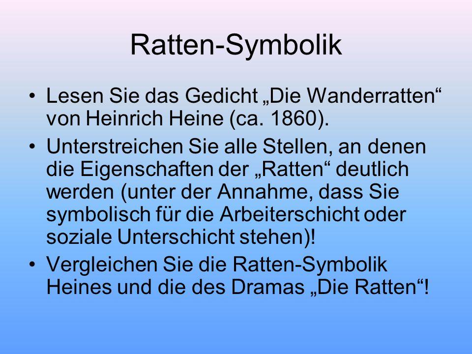 """Ratten-Symbolik Lesen Sie das Gedicht """"Die Wanderratten von Heinrich Heine (ca. 1860)."""