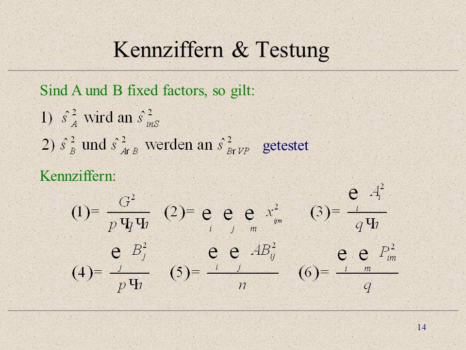 Kennziffern & Testung Sind A und B fixed factors, so gilt: getestet