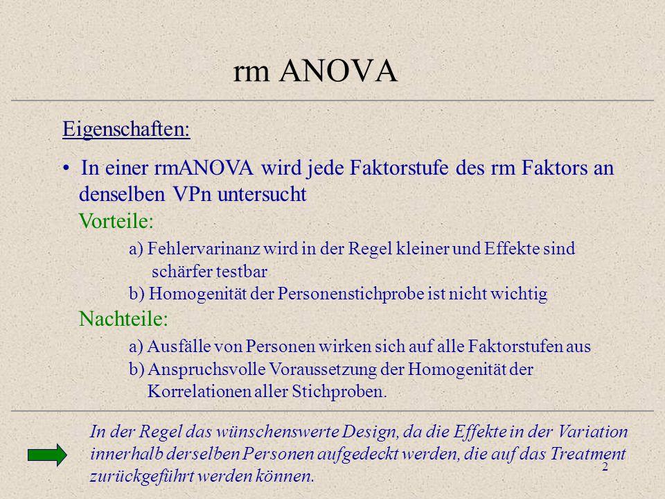 rm ANOVA Eigenschaften: