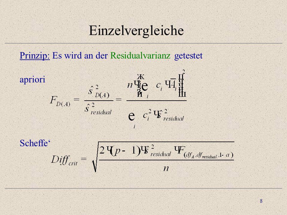 Einzelvergleiche Prinzip: Es wird an der Residualvarianz getestet
