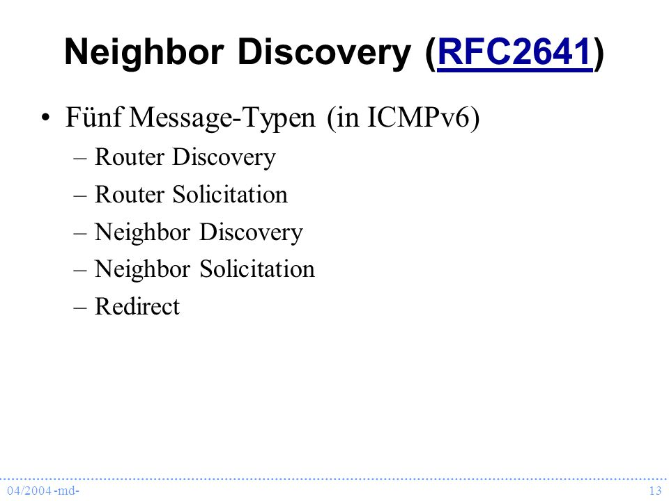 Neighbor Discovery (RFC2641)