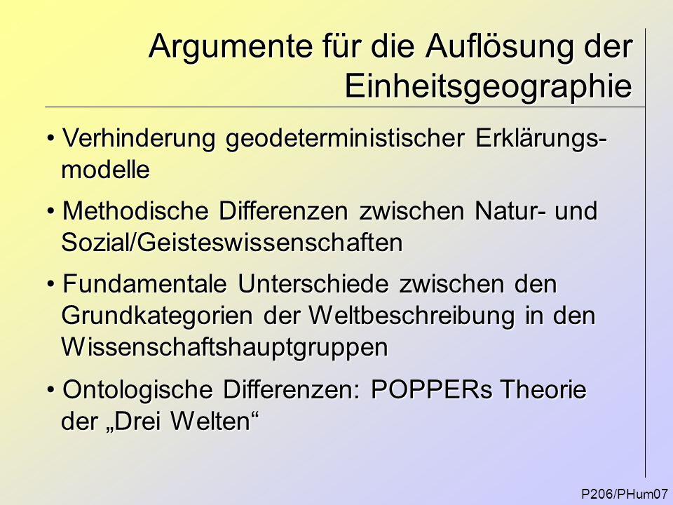 Argumente für die Auflösung der Einheitsgeographie