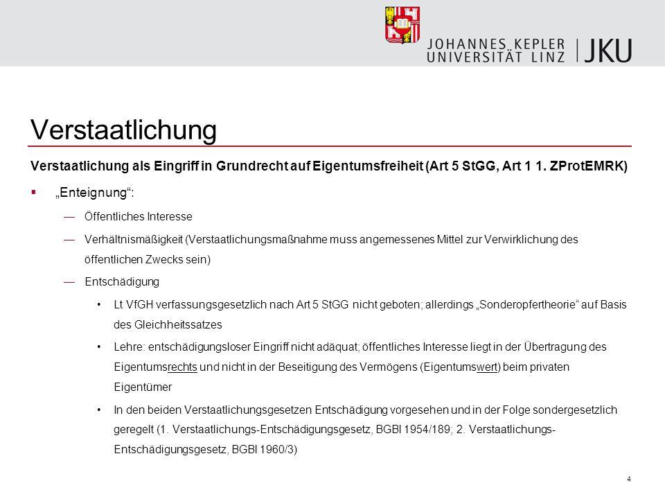 Verstaatlichung Verstaatlichung als Eingriff in Grundrecht auf Eigentumsfreiheit (Art 5 StGG, Art 1 1. ZProtEMRK)