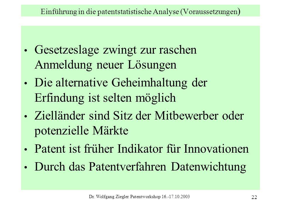 Einführung in die patentstatistische Analyse (Voraussetzungen)
