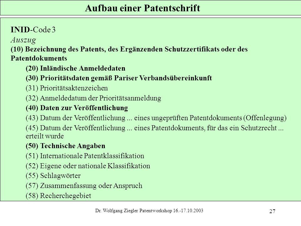 Aufbau einer Patentschrift