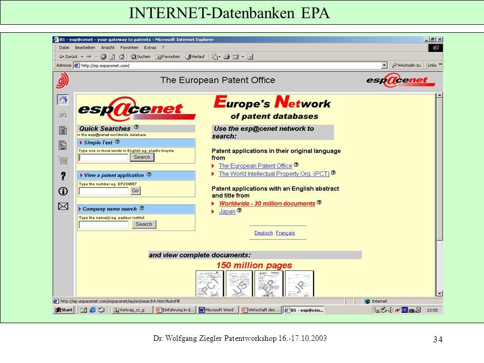 INTERNET-Datenbanken EPA
