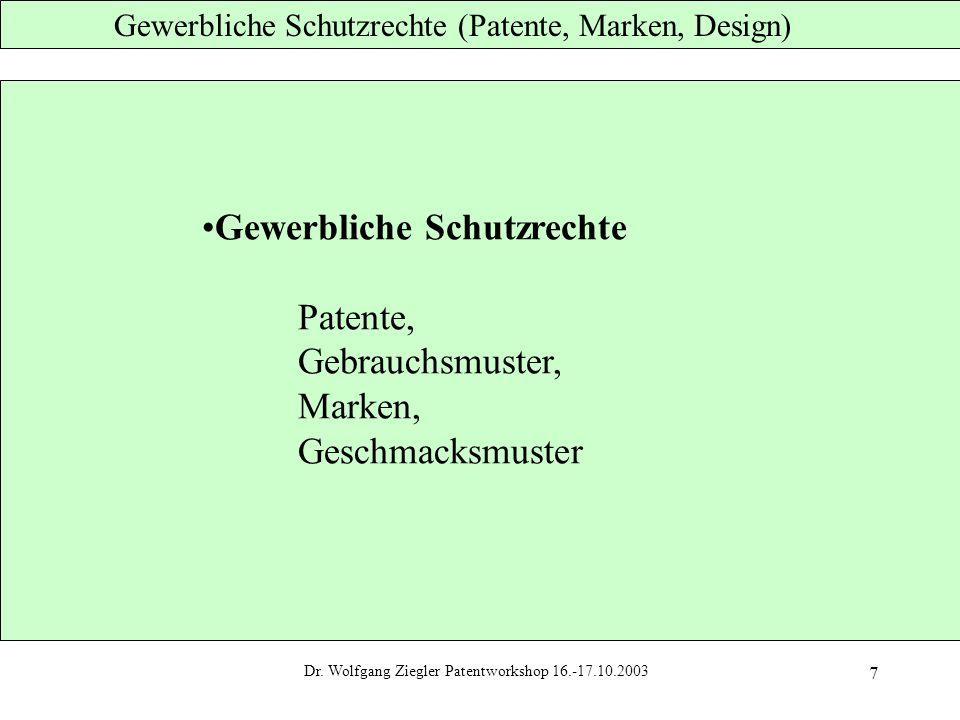 Dr. Wlfgang Ziegler Patentworkshop 22.-23.10.2002