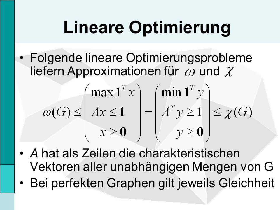 Lineare Optimierung Folgende lineare Optimierungsprobleme liefern Approximationen für und.