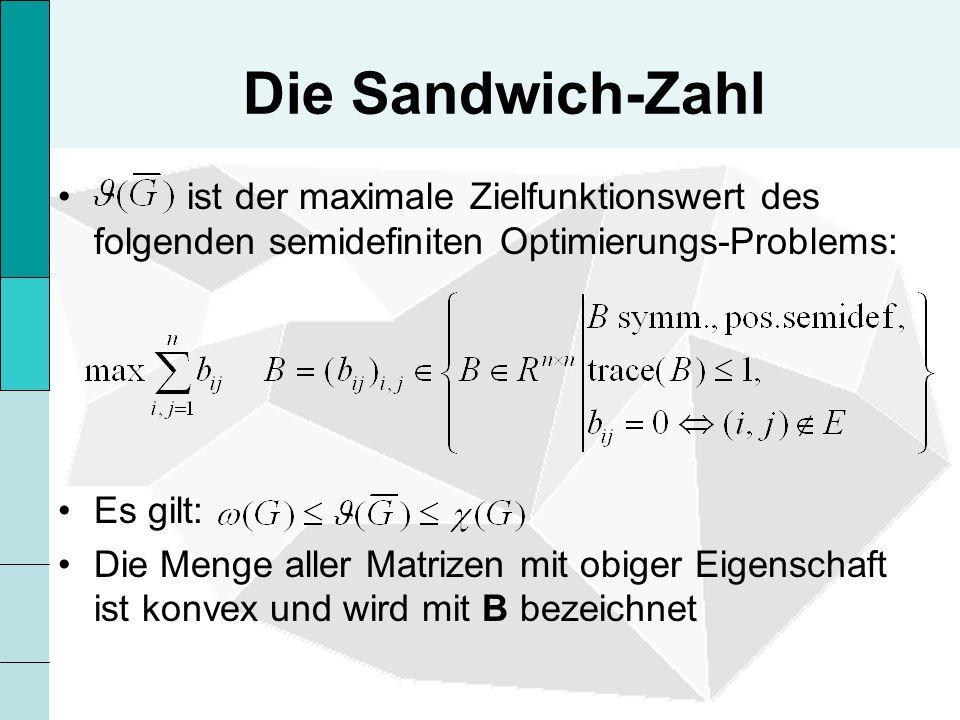 Die Sandwich-Zahl ist der maximale Zielfunktionswert des folgenden semidefiniten Optimierungs-Problems: