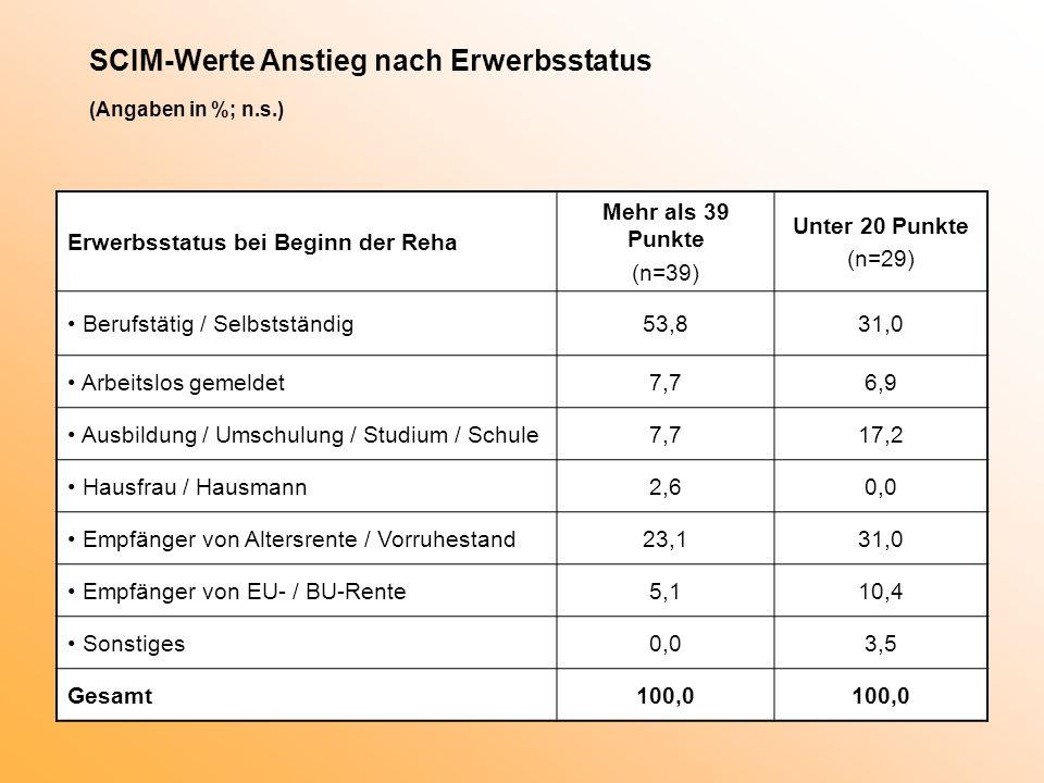 SCIM-Werte Anstieg nach Erwerbsstatus (Angaben in %; n.s.)
