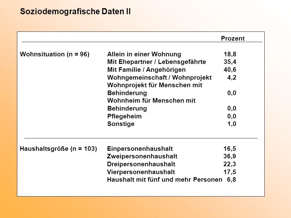 Soziodemografische Daten II