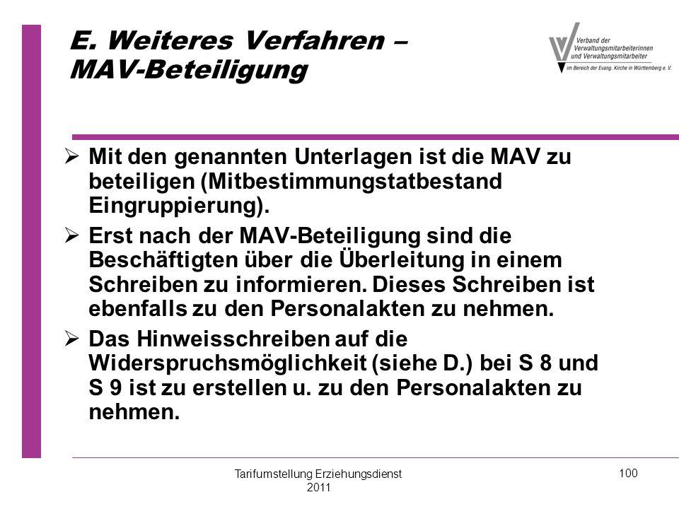 E. Weiteres Verfahren – MAV-Beteiligung