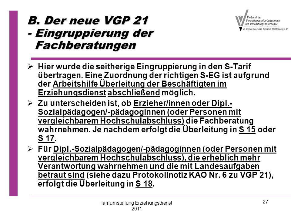 B. Der neue VGP 21 - Eingruppierung der Fachberatungen