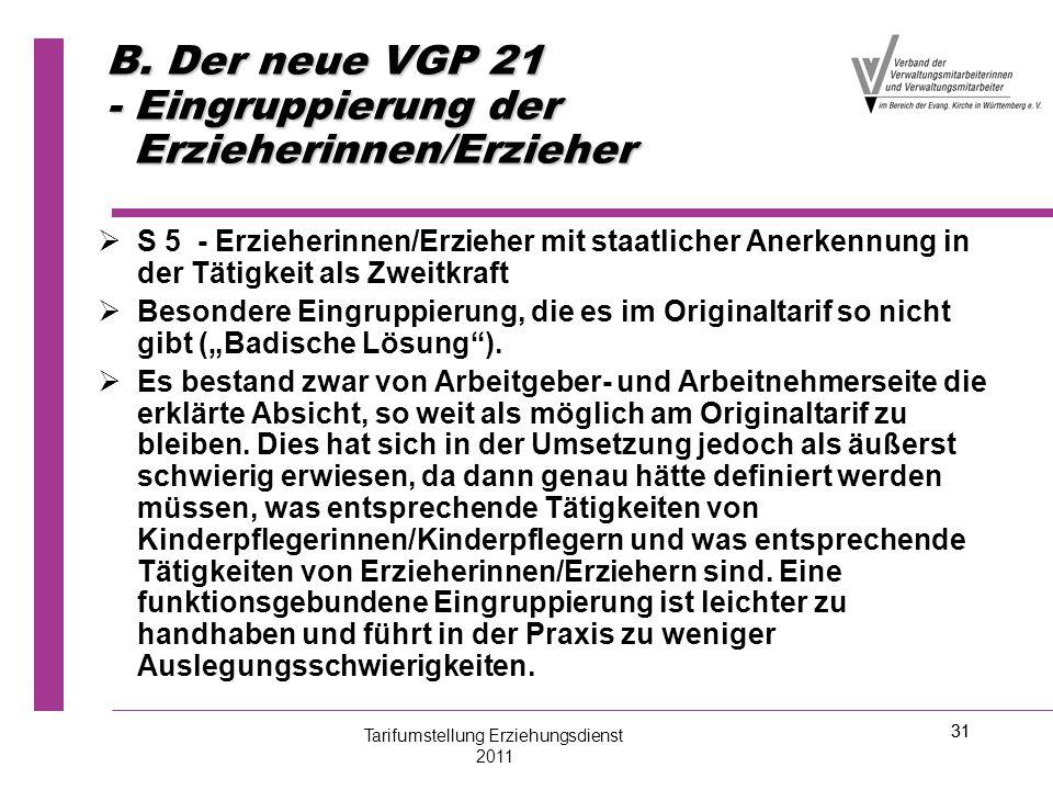 B. Der neue VGP 21 - Eingruppierung der Erzieherinnen/Erzieher