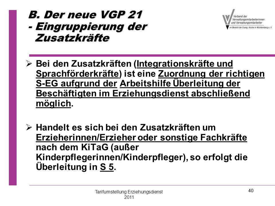 B. Der neue VGP 21 - Eingruppierung der Zusatzkräfte