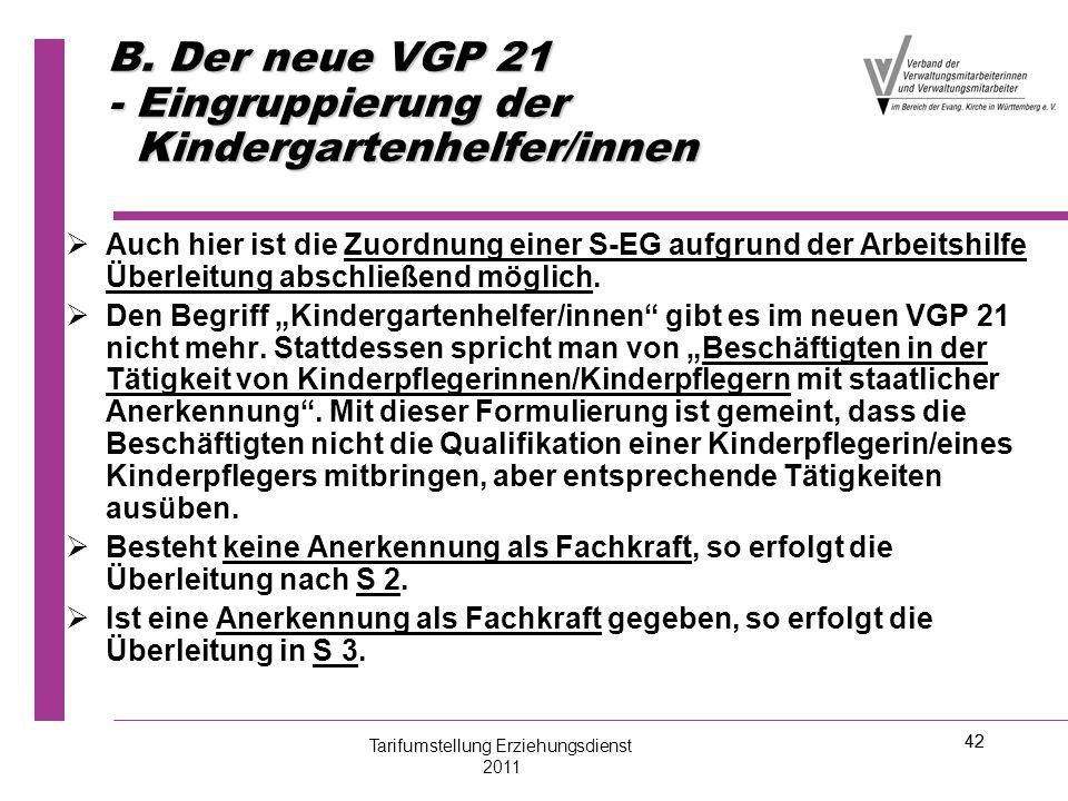 B. Der neue VGP 21 - Eingruppierung der Kindergartenhelfer/innen