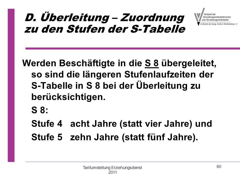 D. Überleitung – Zuordnung zu den Stufen der S-Tabelle