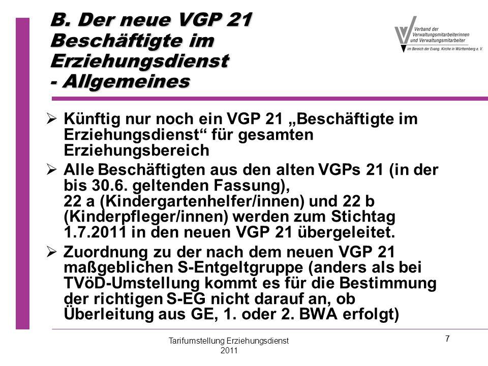 B. Der neue VGP 21 Beschäftigte im Erziehungsdienst - Allgemeines