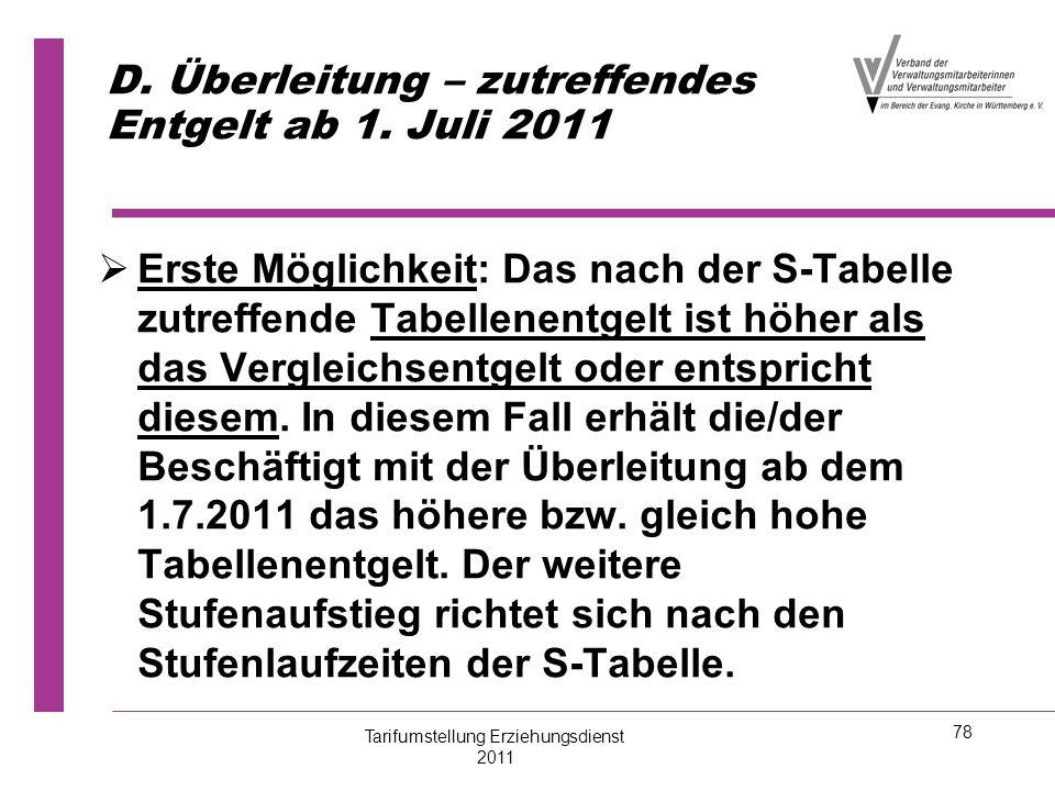 D. Überleitung – zutreffendes Entgelt ab 1. Juli 2011
