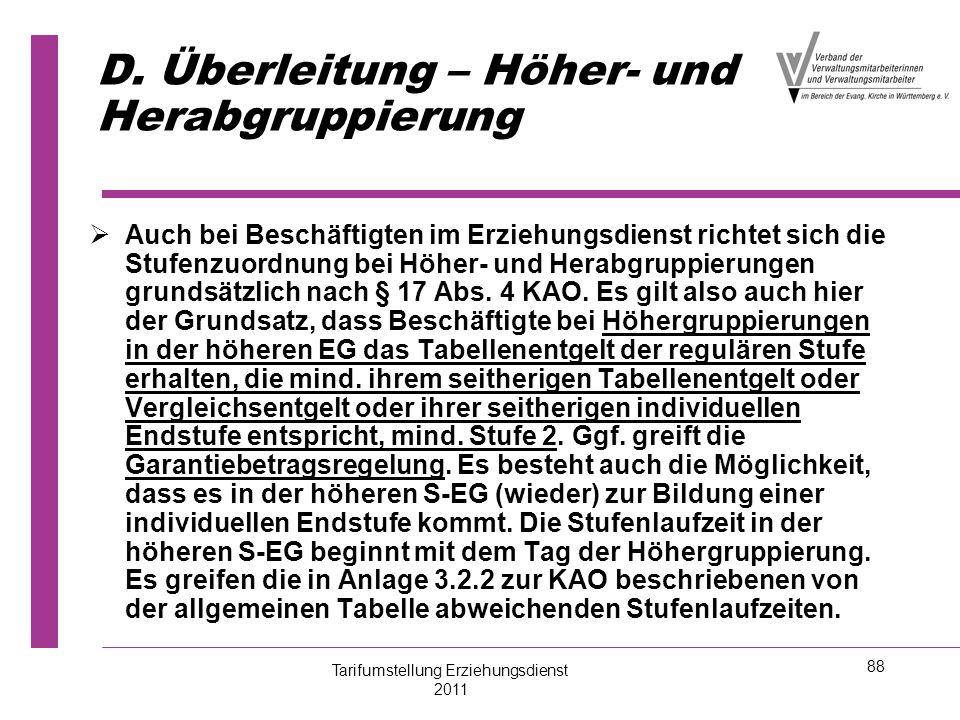 D. Überleitung – Höher- und Herabgruppierung